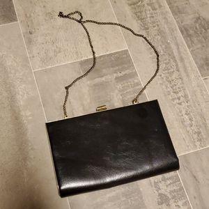 Vintage Black Snap Clutch/Shoulder Evening Bag